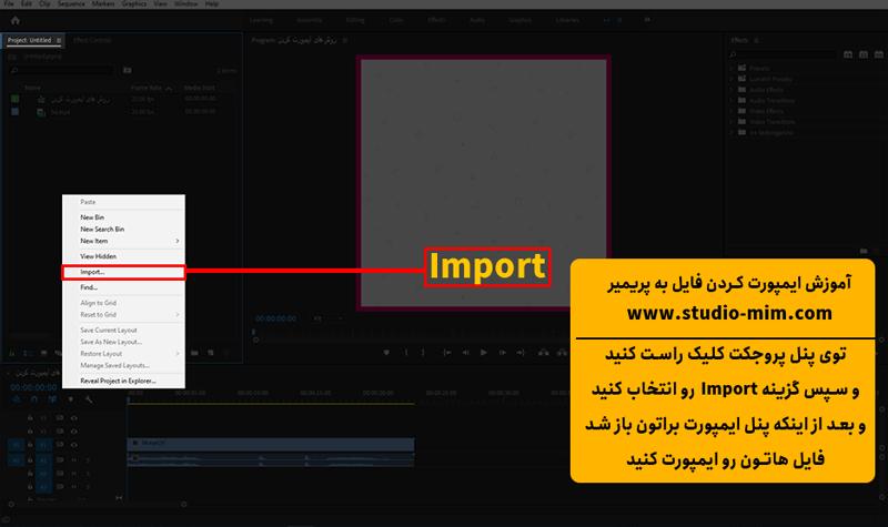 وارد کردن فایل به پریمیر