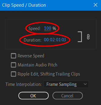 تغییر سرعت فیلم در پریمیر